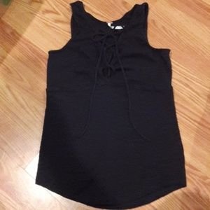 Free People black lace up tank top